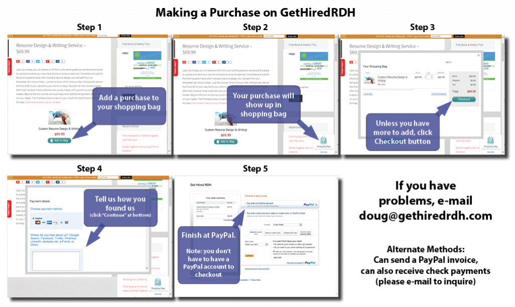 Making a Purchase on GetHiredRDH