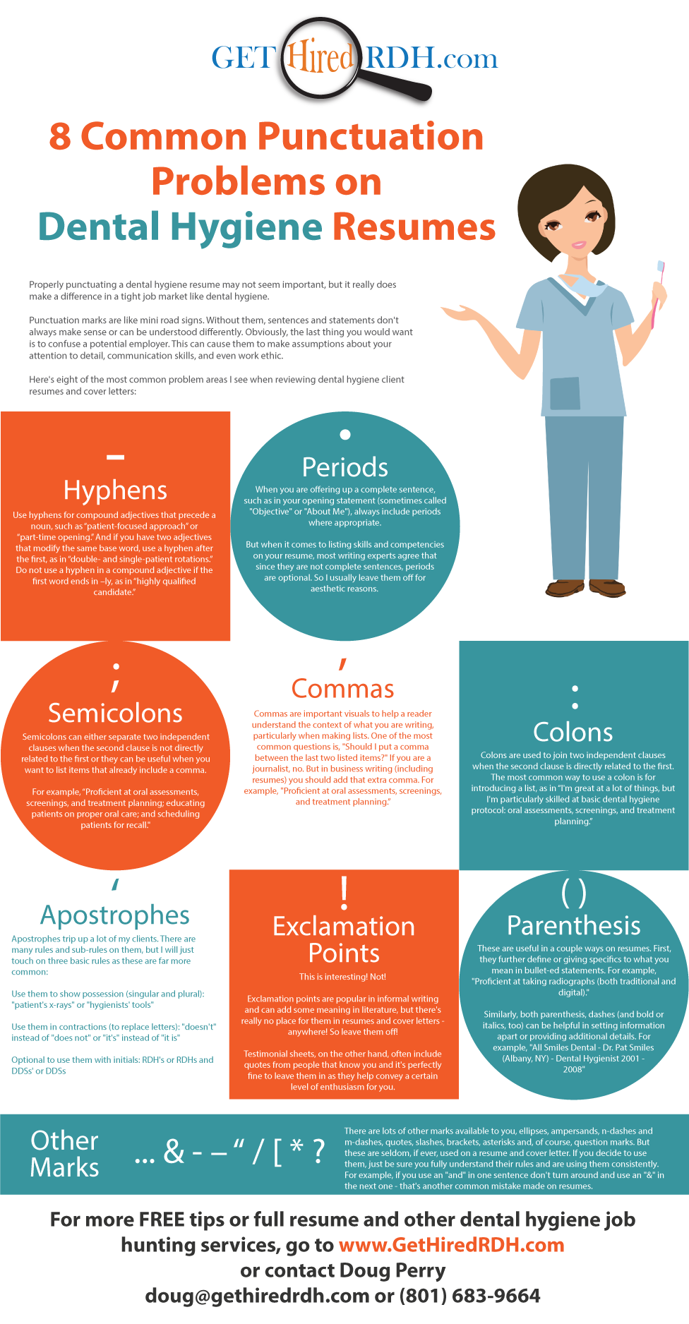 8 common punctuation problems on dental hygiene resumes