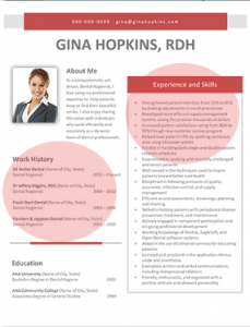dental hygiene resume format ex