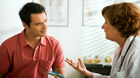 man and woman talk
