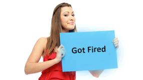 woman holding got fired label